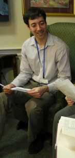 The author, leading a TimeSlips session